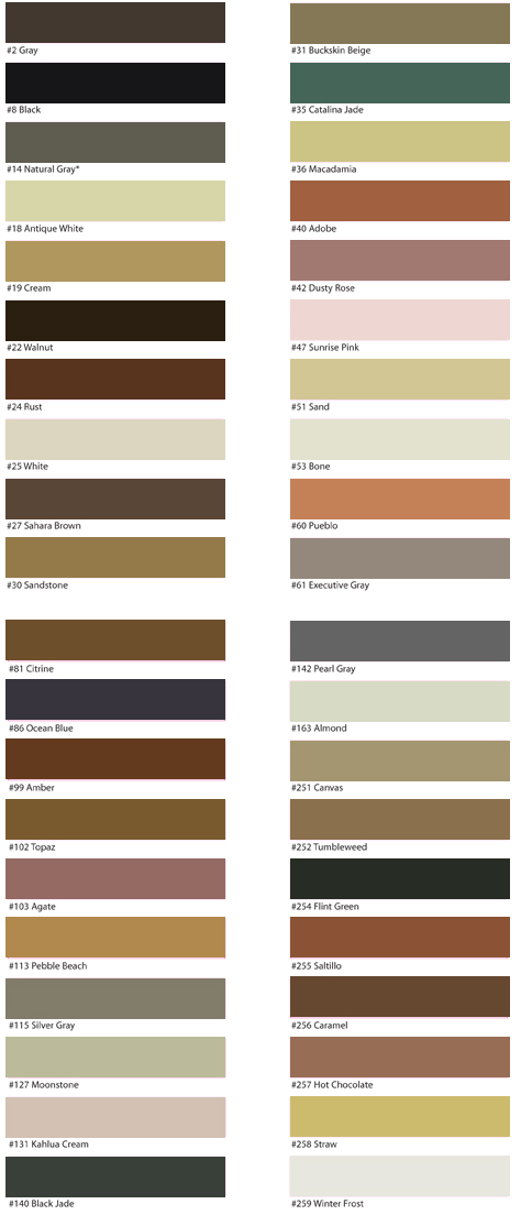 C Cure Grout Color Chart